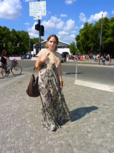 Berlin fashion week street style city prints maxi dress