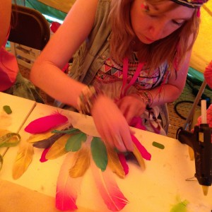 Wilderness Festival feather headdress making