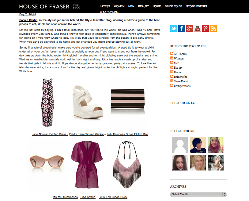 House of Fraser.co.uk Stylist picks - Apr 13
