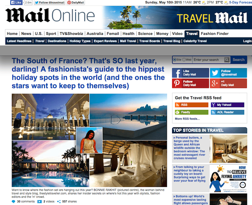 TheStyleTraveller featured in DailyMail.co.uk