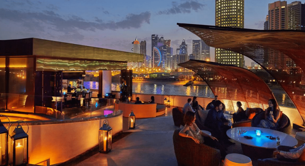 The bar terrace at Nobu Doha