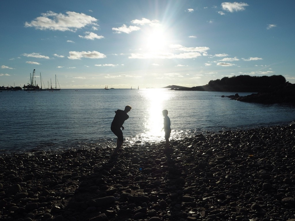 Stone skimming St Mary's beach