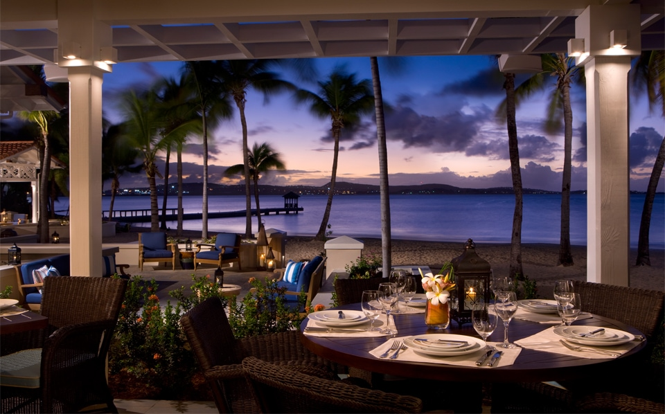 Verandah restaurant Jumby Bay Caribbean luxury holiday