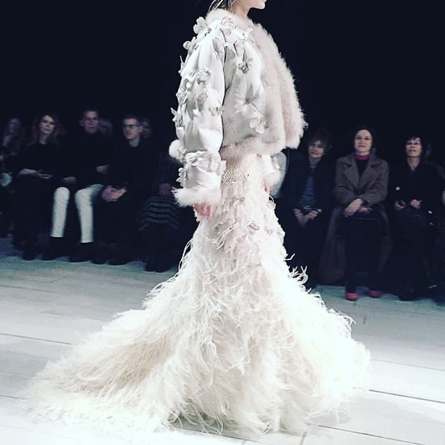Alexander McQueen London Fashion week feathers