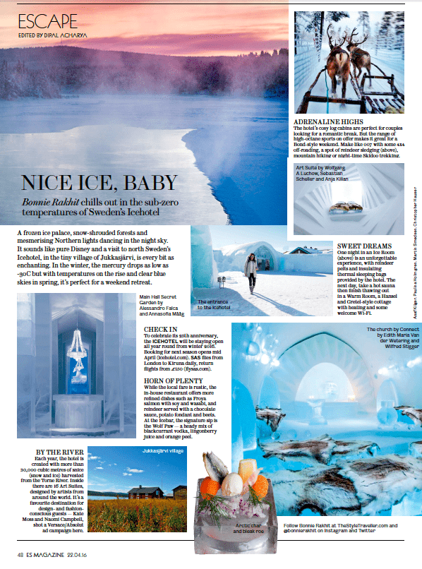 The Style Traveller Evening Standard article Ice Hotel