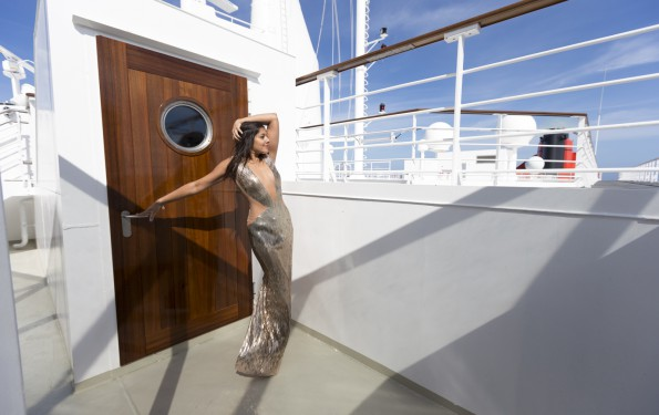 Bonnie Rakhit style traveller Queen Mary 2 Fashion shoot