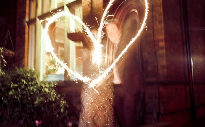 Wedding day sparklers heart