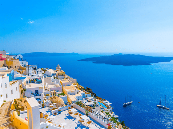 Santorini landscape shot, anchored cruise