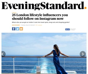 London Evening Standard top 25 Influencers to follow on Instagram - April 17