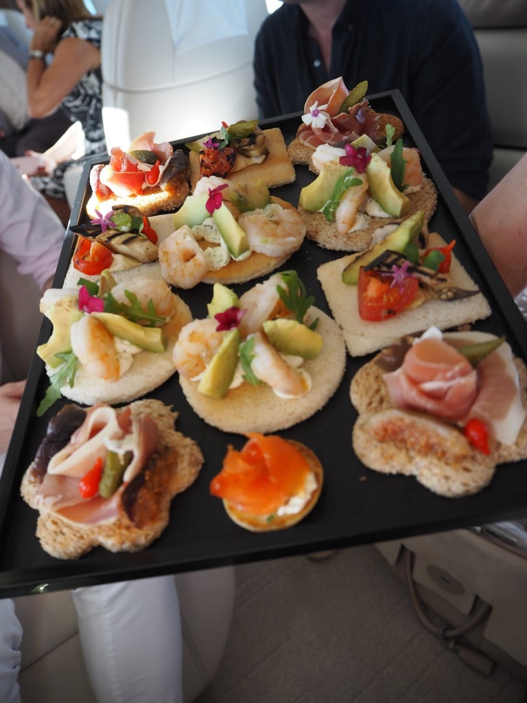 victor private jet charter canapes flight food