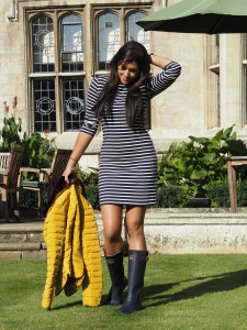 Bonnie-Rakhit-style-traveller-Joules-stripe-dress