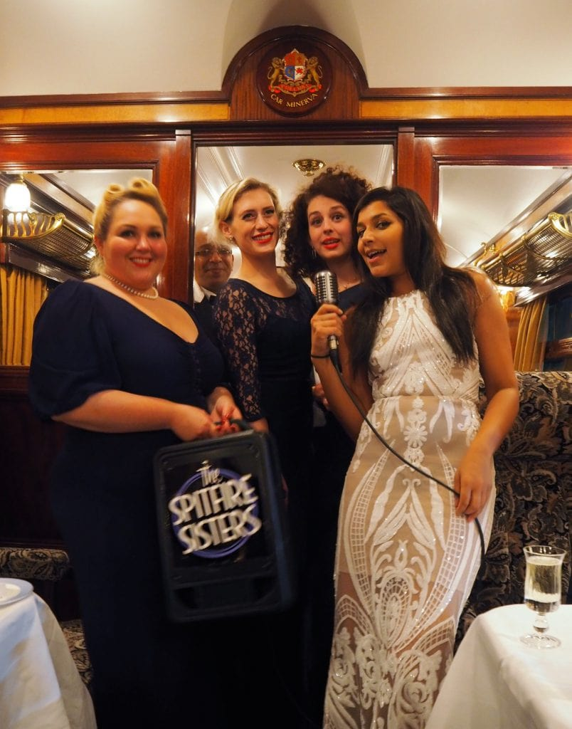 Spitfire sisters on board the belmond train burlesque retro
