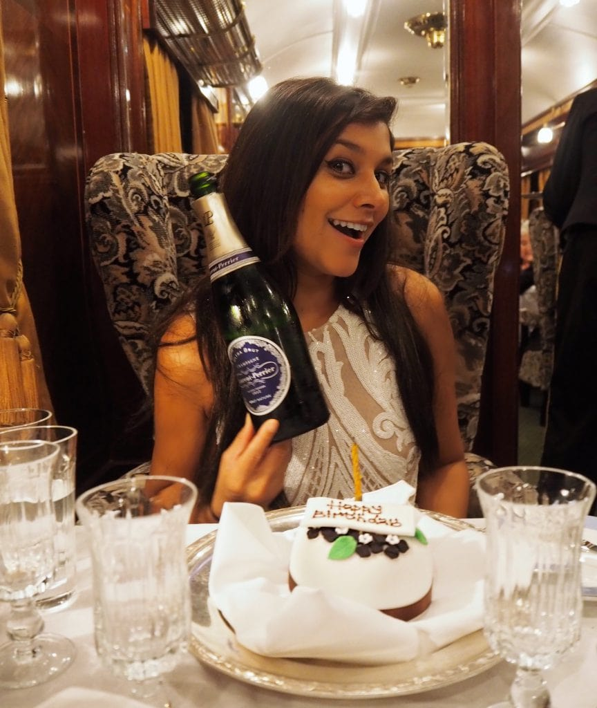 Laurent perrier Bonnie Rakhit birthday on the Belmond train