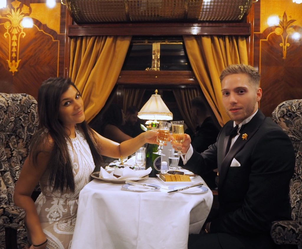 dinner on board the Belmond British Pullman and Orient Express