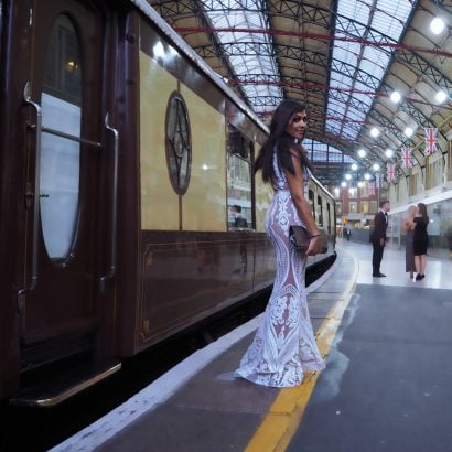 The Belmond British Pullman Bonnie Rakhit that to wear black tie
