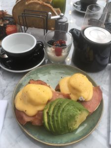 The curtain hotel rooftop breakfast avocado and eggs benedict