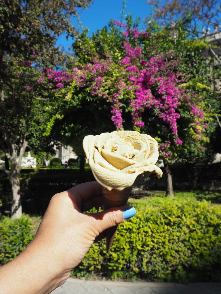 icecream shaped like a flower rose