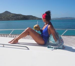 The Style Traveller Bonnie Rakhit melissa odabash swimsuit girl on a yacht coconut water