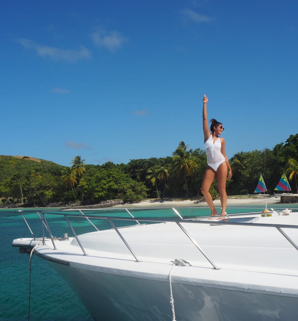 The Style Traveller Bonnie Rakhit melissa odabash swimsuit girl on a yacht