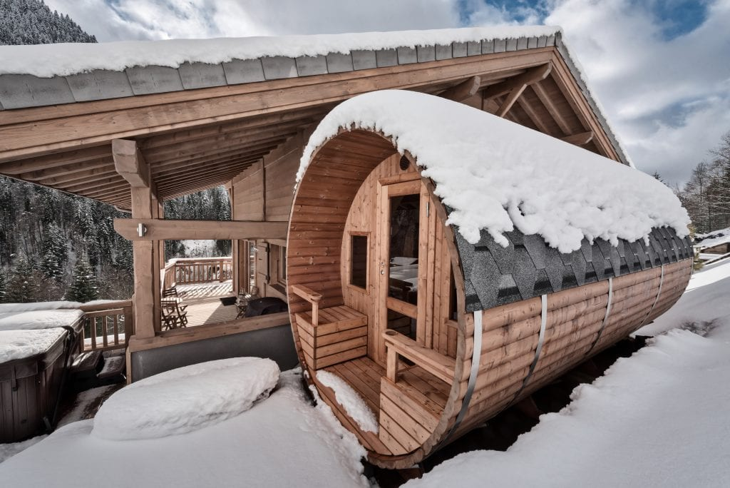 The white valley company luxury ski trip sauna room