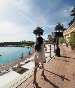 The style traveller bonnie rakhit at Pelican hill Newport beach luxury hotel