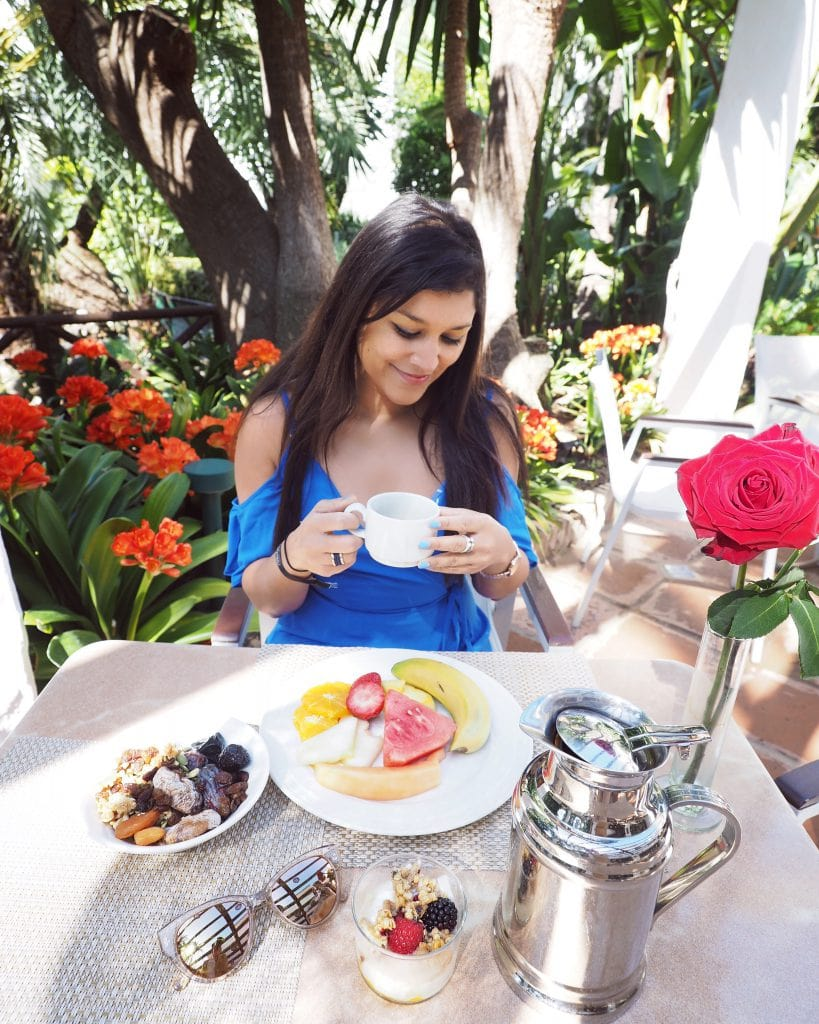 Bonnie Rakhit breakfast goals at Nobu Marbella