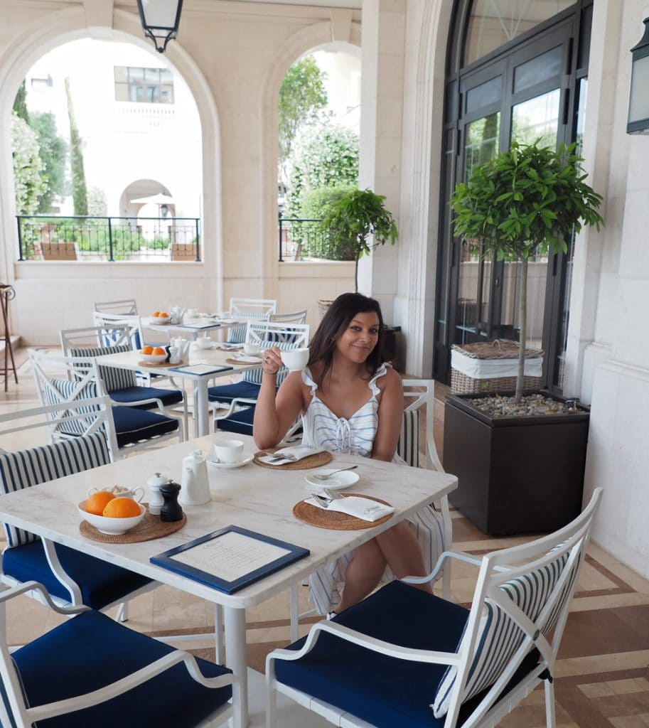 Bonnie Rakhit Style Traveller at Regent porto Montenegro breakfast goals