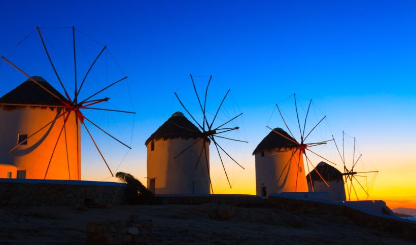 mykonos-windmills at night