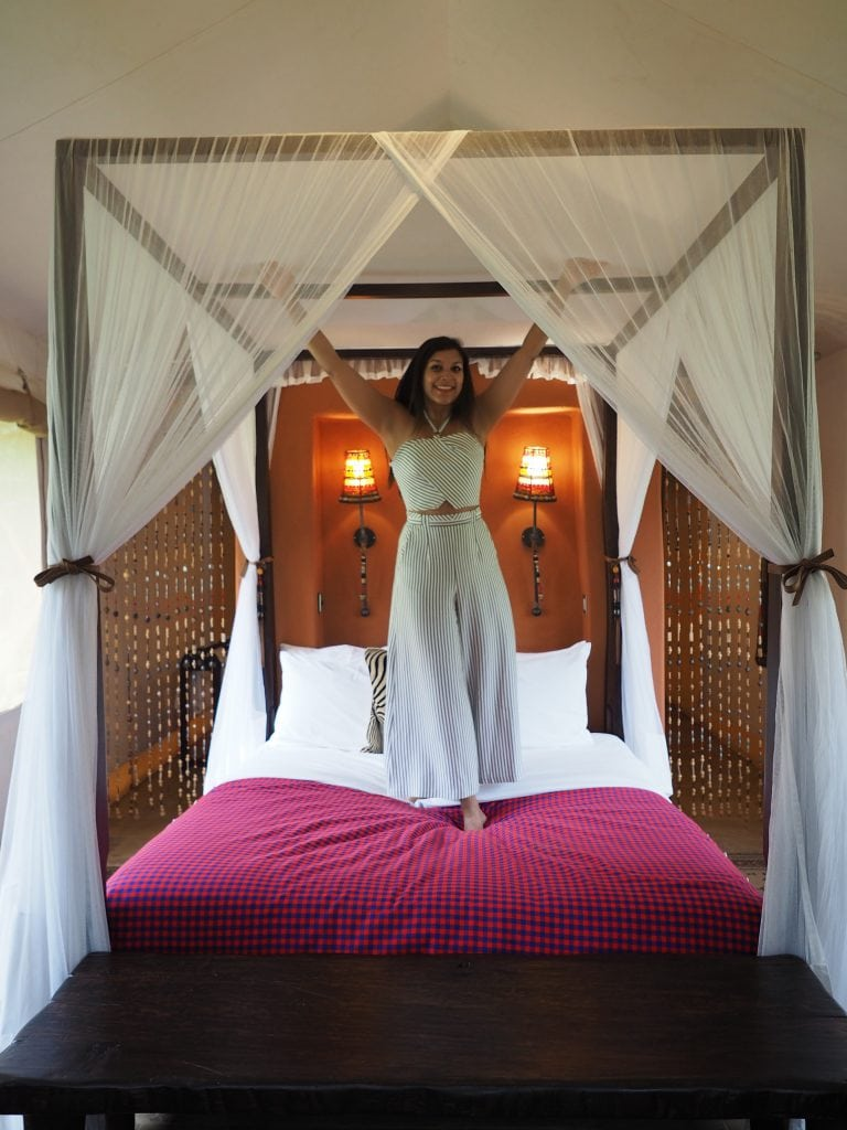 Bonnie Rakhit staying at fairmont Masai Mara luxury tent