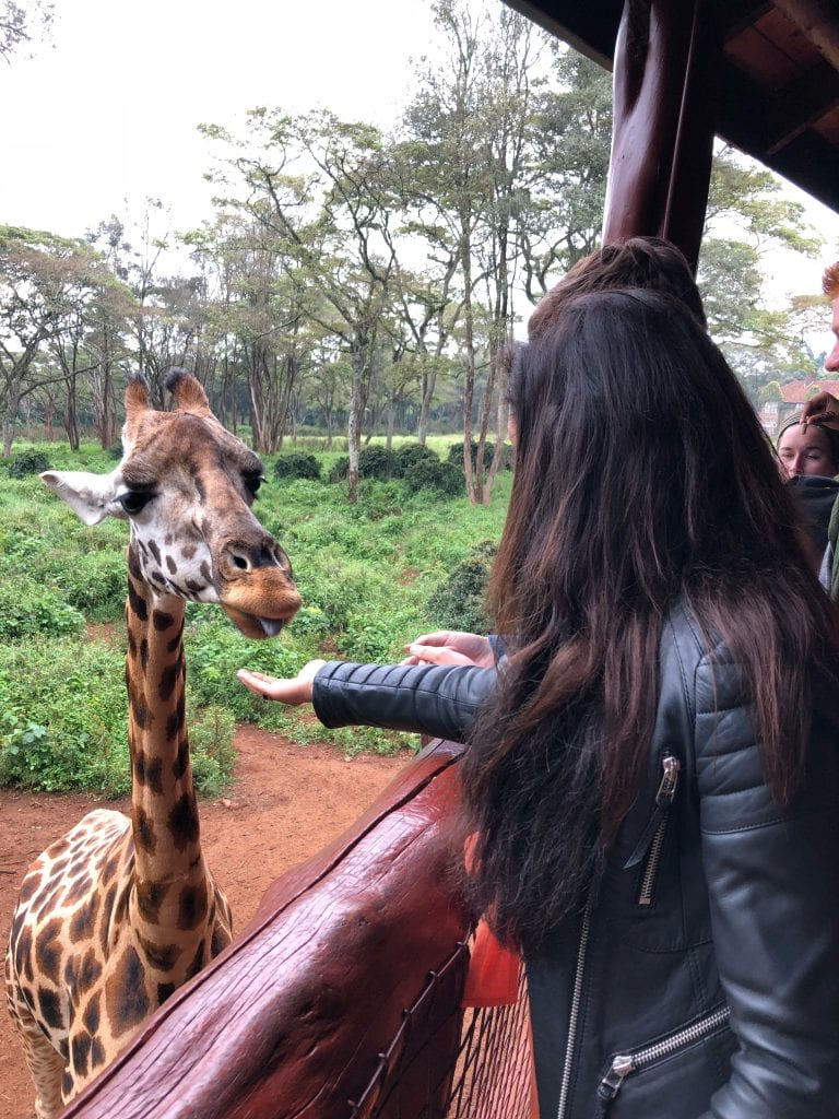 Bonnie Rakhit at Fairmont Nairobi at the giraffe feeding park