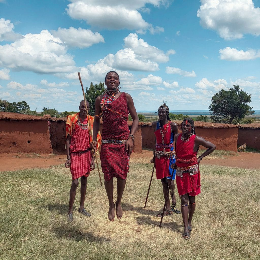 Masai mara warriors dancing in kenya with fairmont
