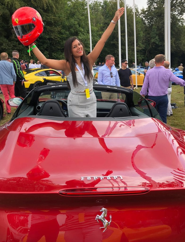 Bonnie Rakhit Goodwood festival of speed with Ferrari sports cars vip pass female racing Portofino