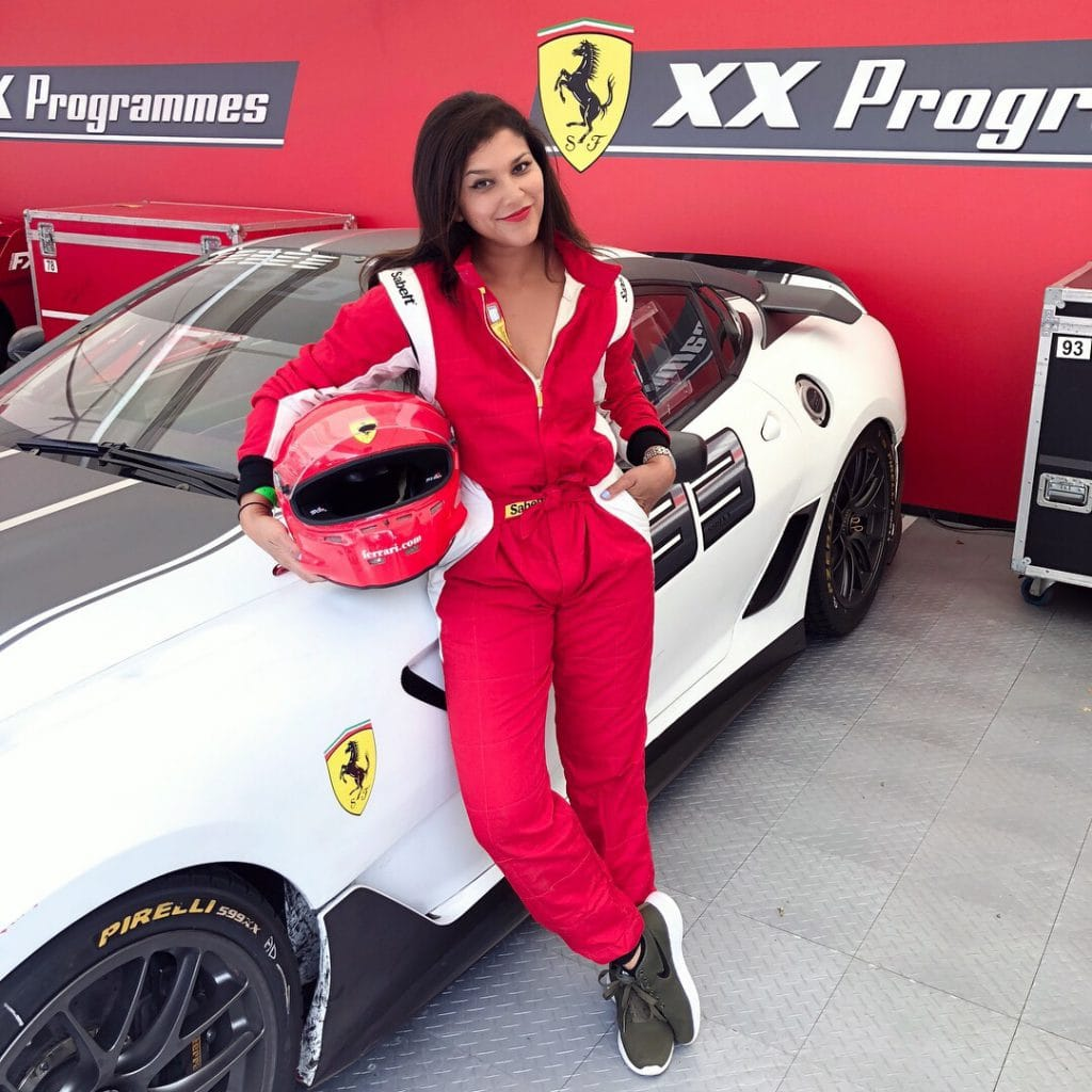 Bonnie Rakhit Goodwood festival of speed with Ferrari sports cars vip pass female racing driver track