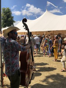 amazing banquet lunch tables at Wilderness Festival Lyles double bass