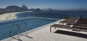 Copacabana-Beach-Rio rooftop swimming pool view from Miramar by windsor preffered hotels