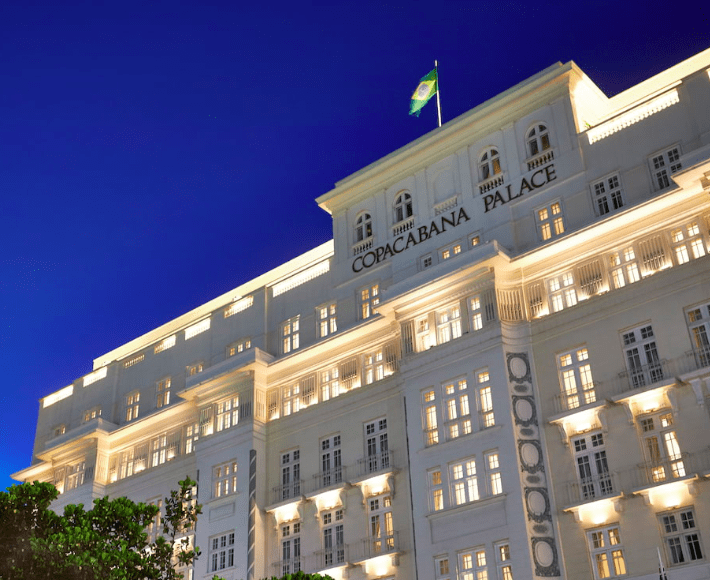 Belmond Copacabana Palace Hotel, Rio Brazil at night