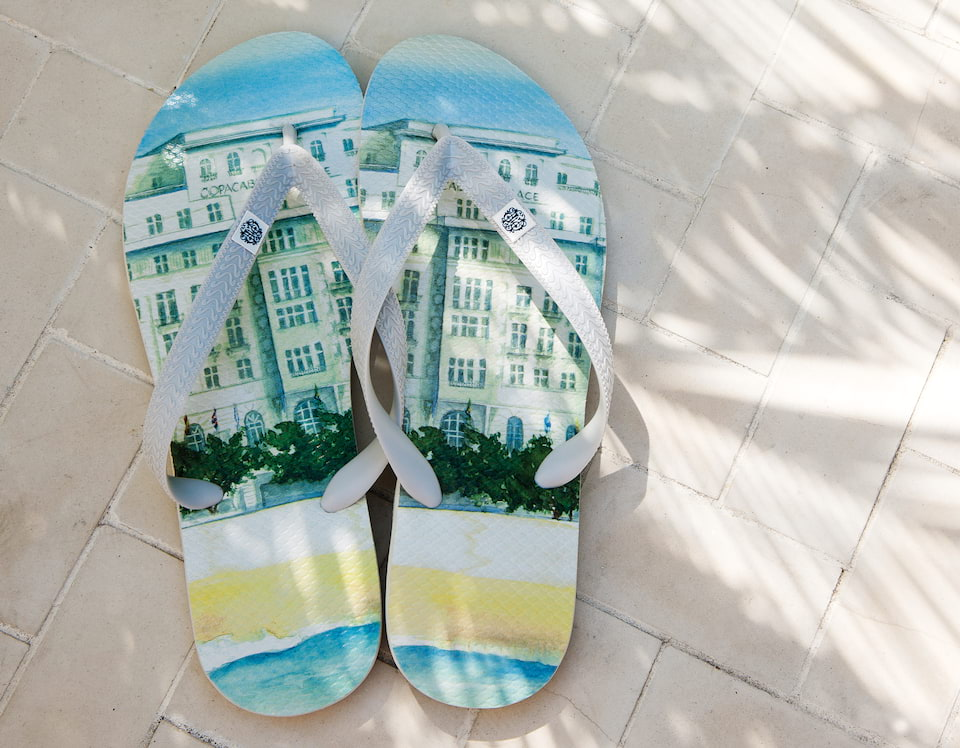 Belmond Copacabana Palace Hotel, Rio Brazil art right on copacabana beach flip flops