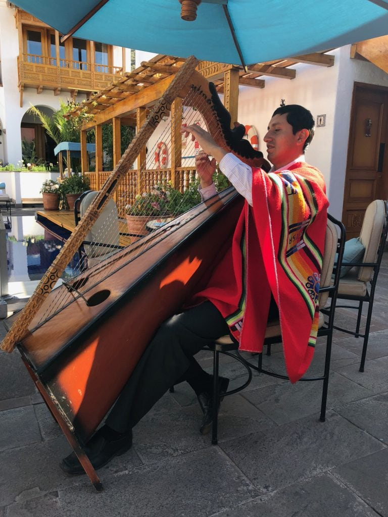 Belmond Palacio Nazarenas best luxury hotels in Cusco breakfast harp player where to stay