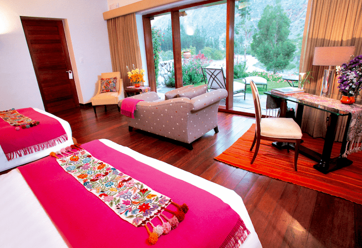 Best hotel in Sacred valley Peru.Belmond Rio Sagrado hotel room