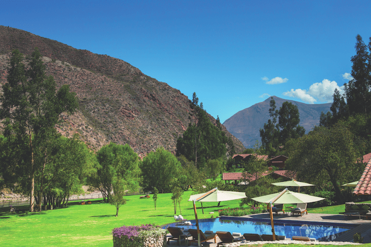 Best hotel in Sacred valley Peru.Belmond Rio Sagrado swimming pool