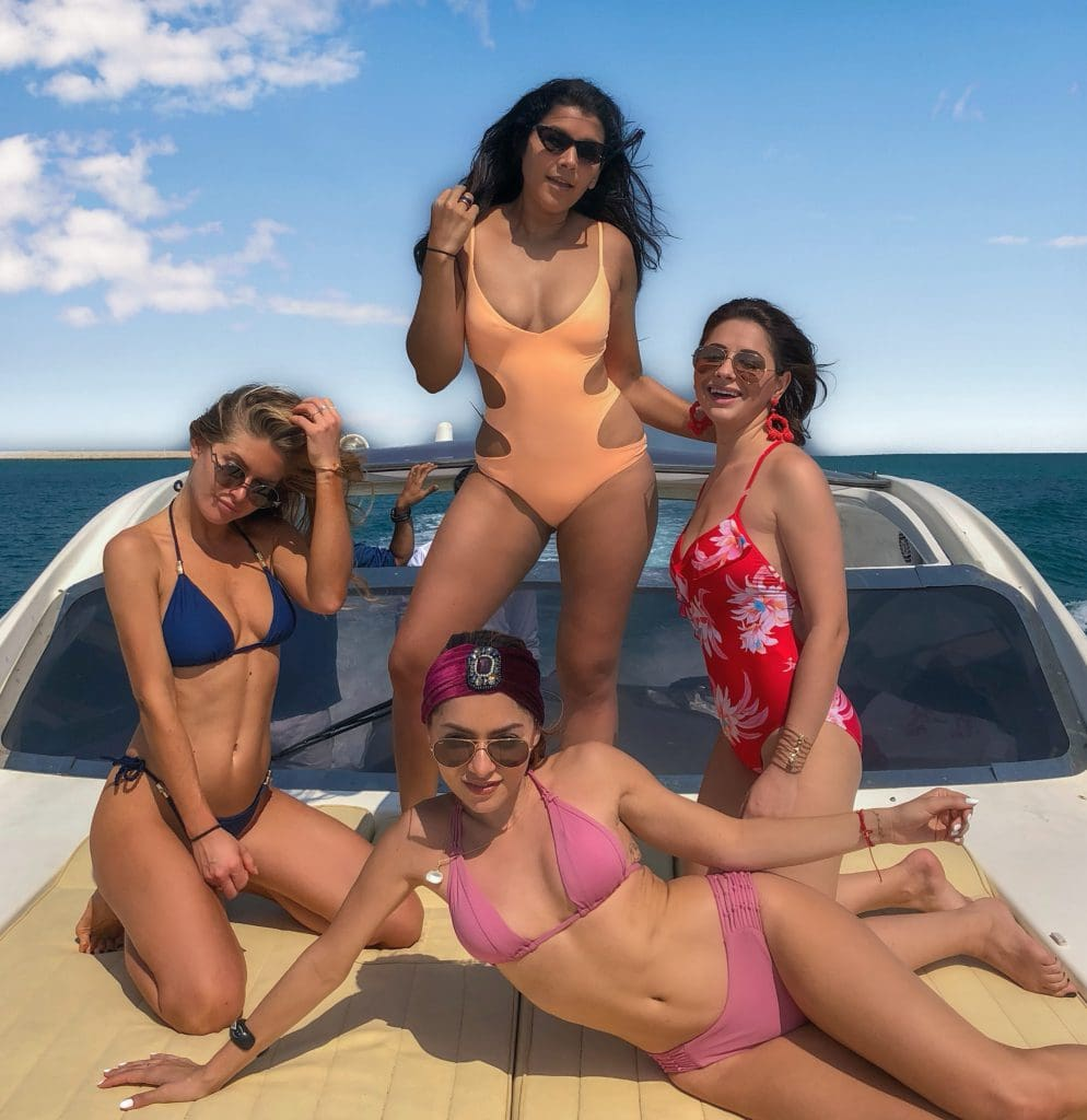 Bonnie Rakhit style traveller with whitneys wonderland, maja malnar, elena sandor sex and the city girls holiday boat trip girl gang yacht