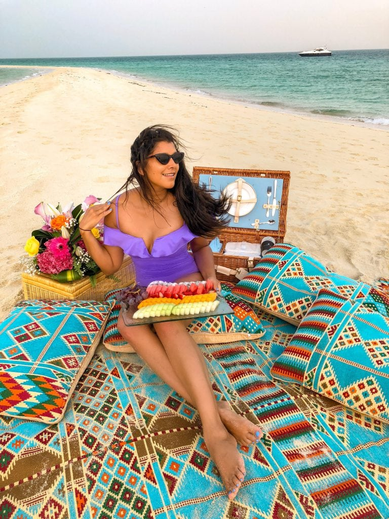 Bonnie Rakhit ritz carlton bahrain boat trip, secluded beach picnic what to do in bahrain