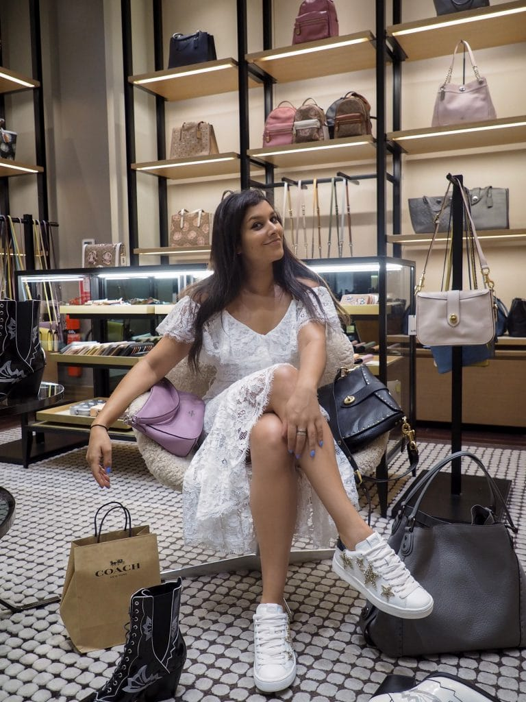 Bonnie Rakhit at Dubai mall Coach store shoe and bag shops