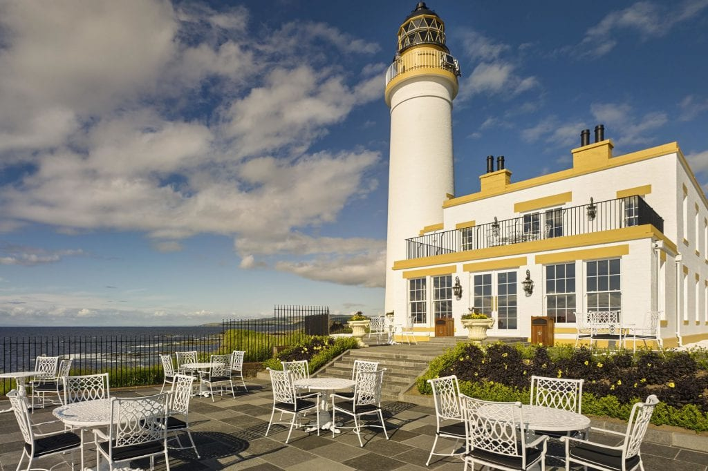 traditional scottish light house sunny yellow