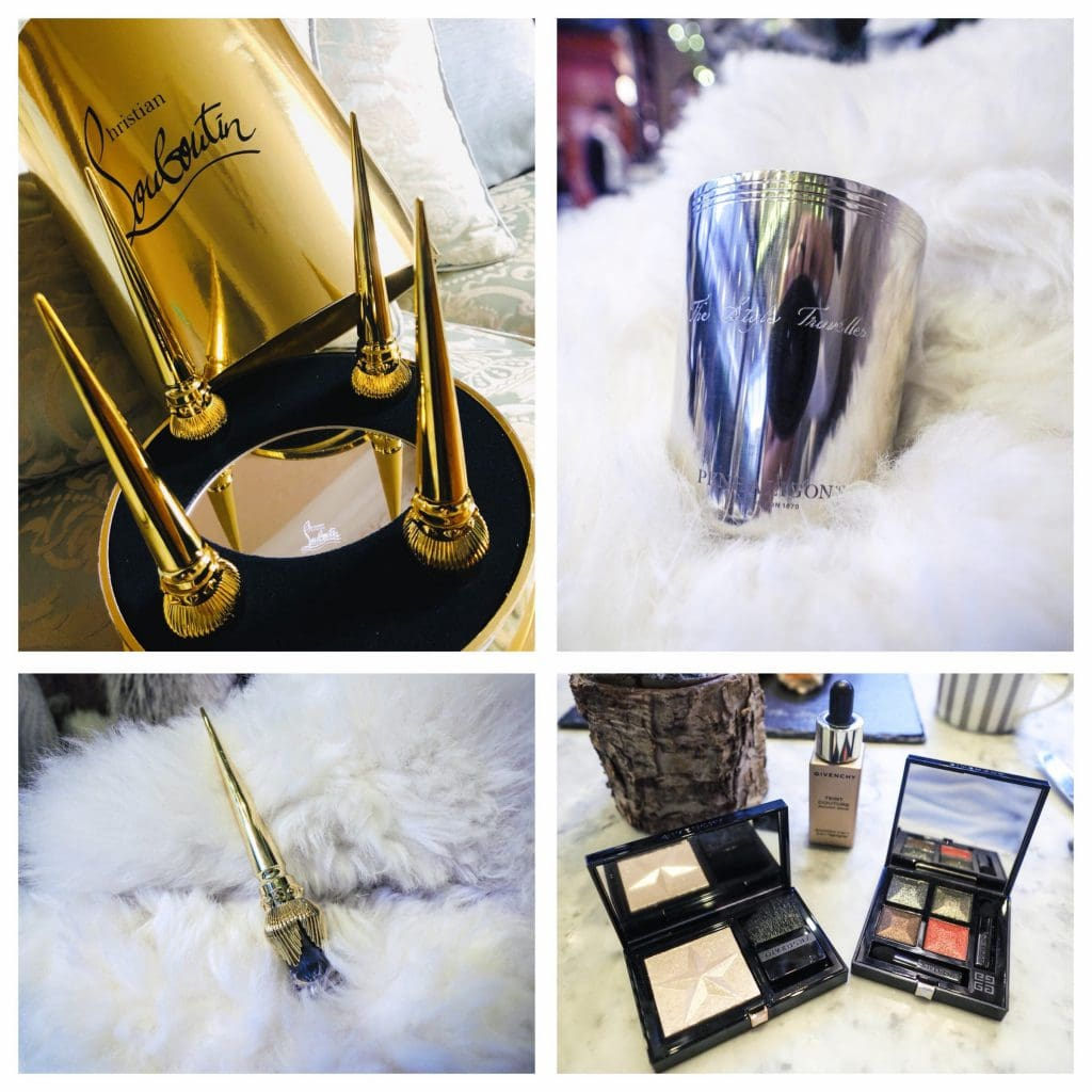 Christian Louboutin eye shadows, penhaligons enscribed candle, givenchy make up lovely beauty gifts for xmas