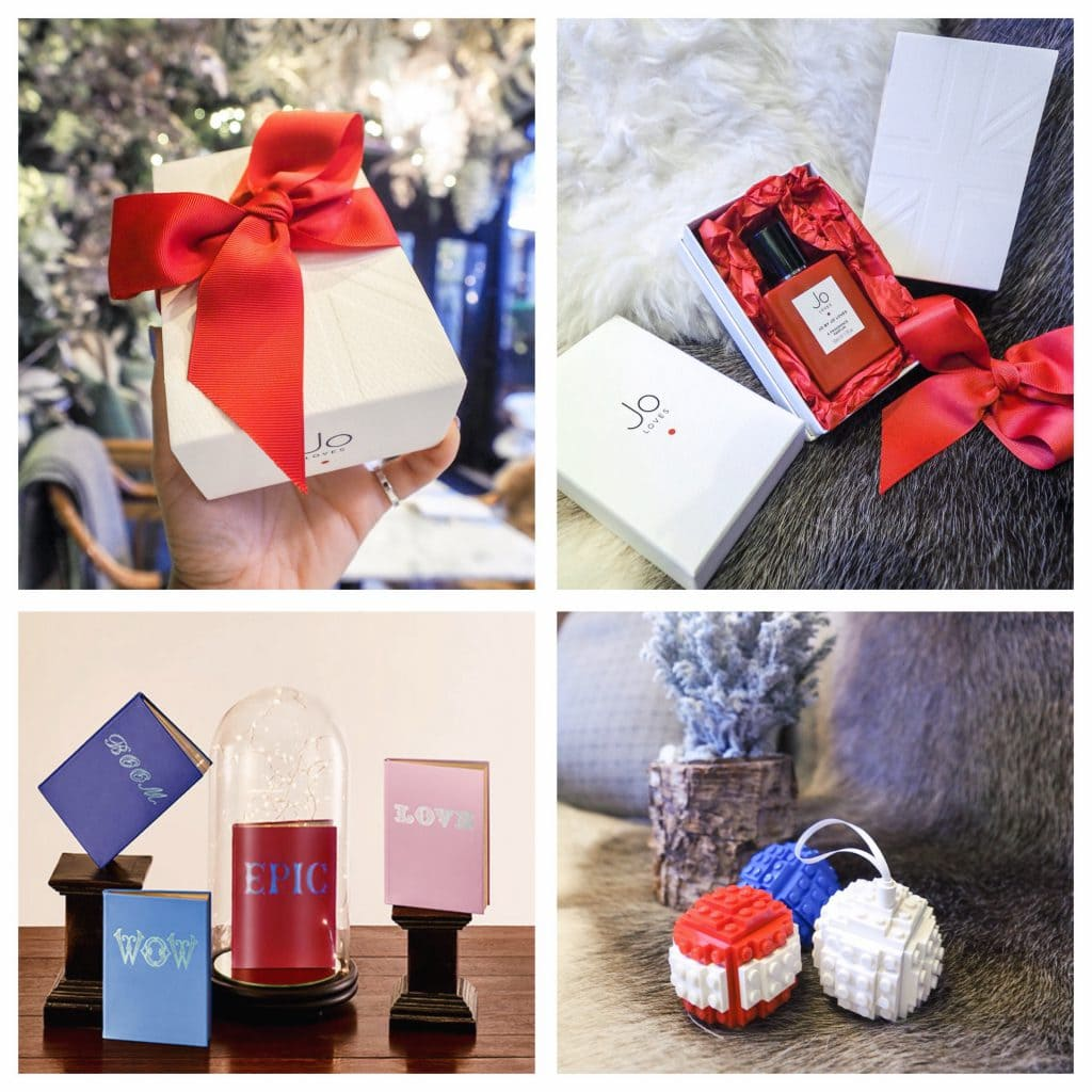 Jo Malone personalised scent, hand made lego baubles, Smythson notebooks xmas gifts