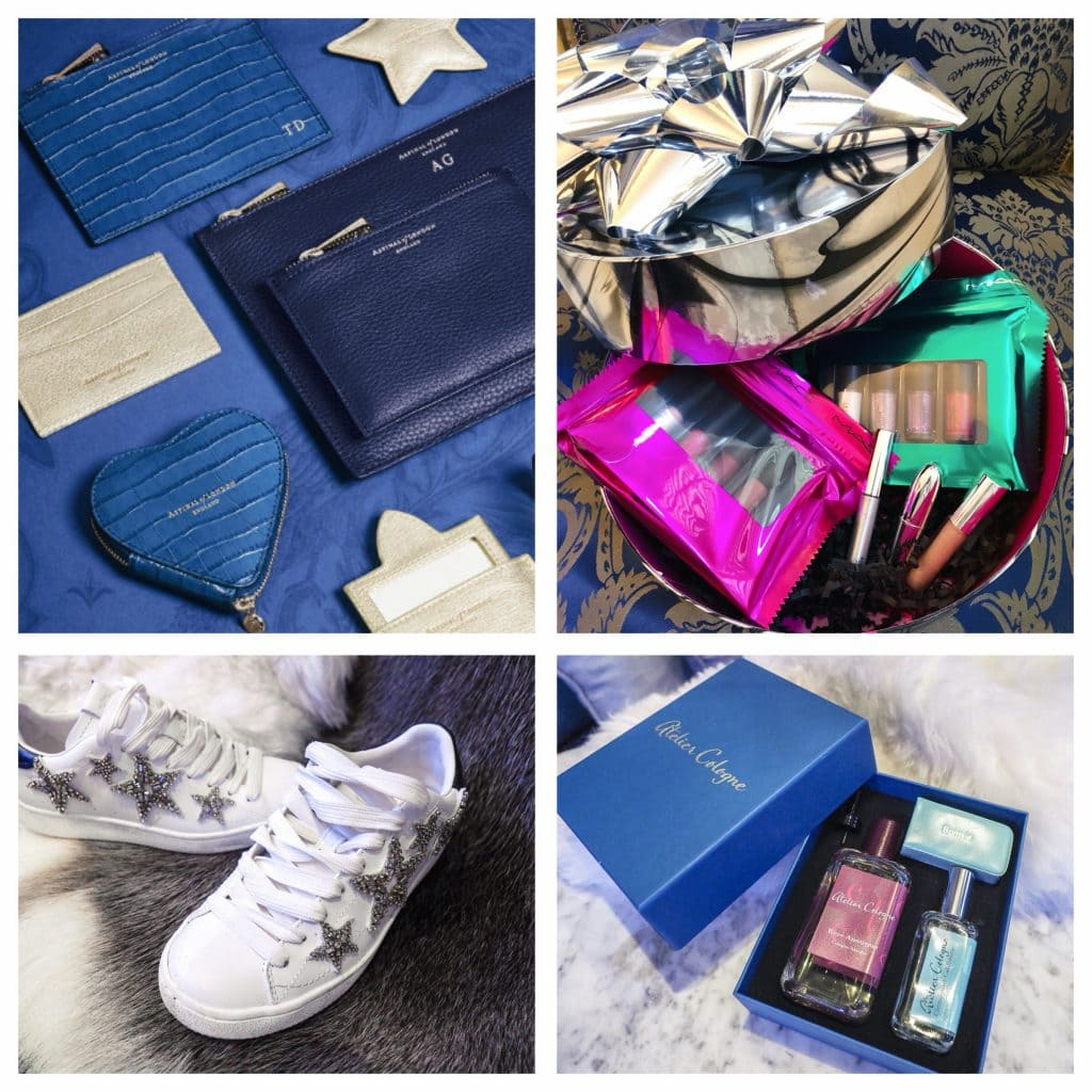 Aspinal embossed pieces, mac gift box, atelier cologne travel box and coach star trainers best xmas gifts for girls