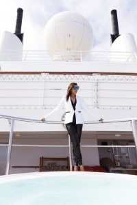 Amanda Wakeley tux on The Style traveller cruise style