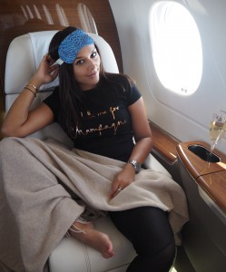 victor private jet in flight sleep wear Bonnie rakhit