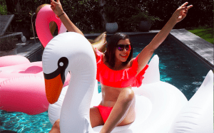 Style traveller Bonnie inflatable pool party at kate moss' barnhouse at Lakes by yoo